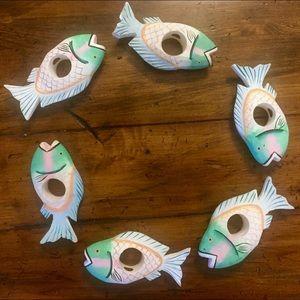 🐟 Wooden Fish Napkin Ring  Set 🐠